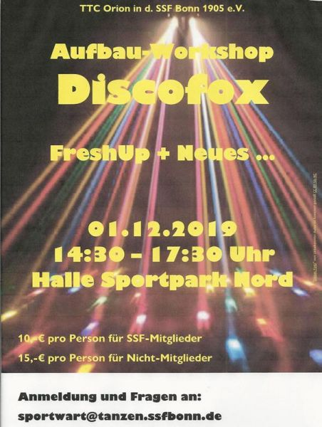 Flyer Aufbau-Workshop Discofox